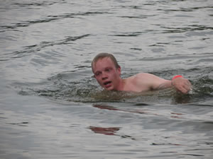 Skipper in the swim test