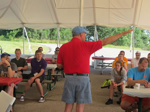 Jeff Morehouse giving instructions at the morning meeting