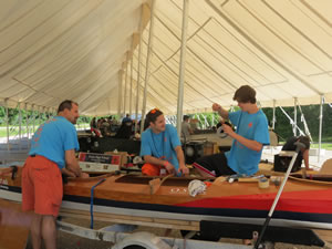 Orono High School students working on their boat